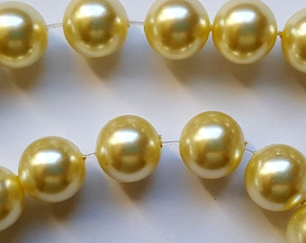 12mm light yellow round glass pearl beads  16 inch strand