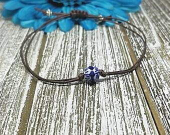 Blue and White Bead Bracelet, Ceramic Bead, Blue, Bead Bracelet, Beaded Bracelet, Bracelet, Macrame, Friendship, String Bracelet, Minimalist
