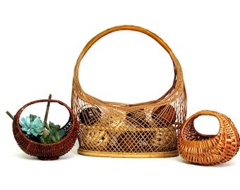 Vintage Wicker Crescent Handle Basket Instant Collection, Easter Baskets, Boho Decorator Baskets