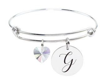 Initial Bangle made with Crystals from Swarovski - G - SWABANGLE-GLD-AB-G - Silver
