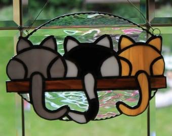Stained glass 3 kittins on a shelf suncatcher, wall hanging