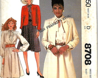 McCall's 8708 Misses Jacket And Pullover Dress Pattern, Shoulder Pleats, Size 16, UNCUT