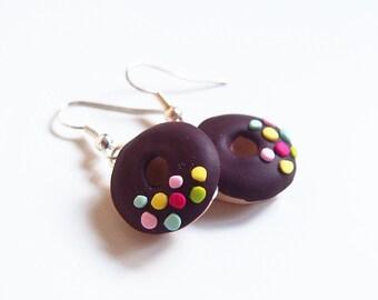 Doughnuts Earrings Chocolate Doughnuts ( miniature doughnut mini food polymer clay dessert earrings miniature donut mini food jewelry )