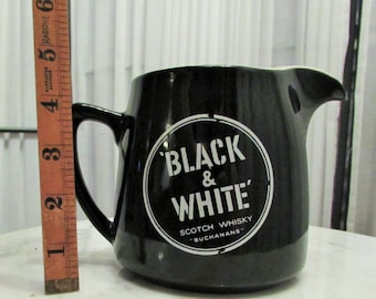 Vintage Black & White Scotch Whisky Ceramic Pub Water Jug made in England