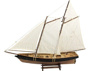 Large, decorative yacht, sailing ship, ship model sailing yacht in wood + linen *