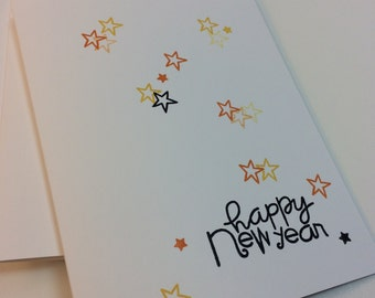 Set of 6 handmade hand stamped cards happy new year year stars