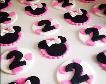 24 x  Mouse party Fondant Cupcake Toppers