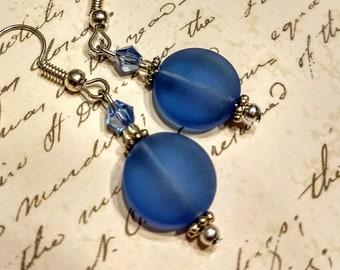 Blue sea glass earrings, blue crystal earrings