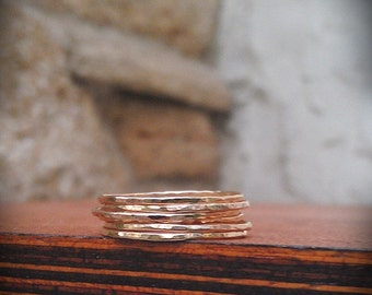Hammered Stack Rings- Gold Filled Set of 6 hammered rings