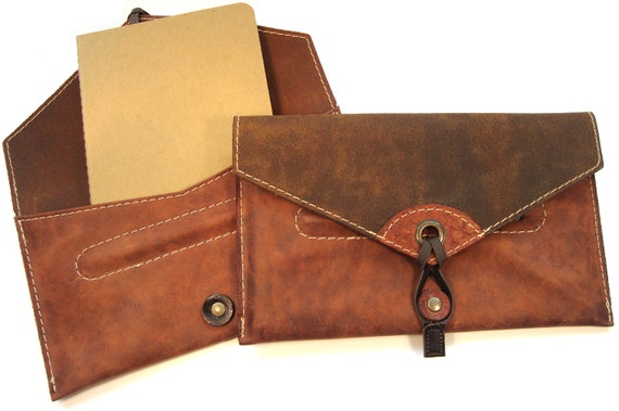 Leather Songwriter's Notebook Case with Moleskine Cahier and pen,  leather notebook cover, leather notebook pouch