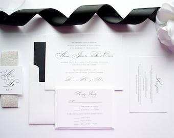 Elegant Script Wedding Invitation, Black Wedding Invitations, Wedding Invites, Elegant Invitations, Glitter, Simple - Deposit