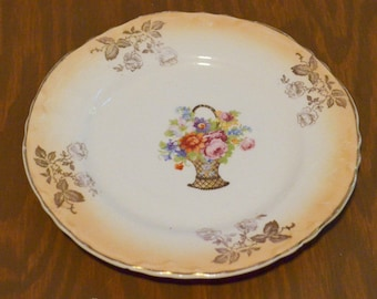 Thompson Francis 6 inch Plate, Basket of Flowers
