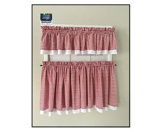 Gingham Check Red and White Valances and Tiers Country Curtain Double Layered Kitchen Curtains Checkered Farmhouse Curtains Free Shipping