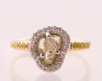 Raw Diamond Ring, 14K Gold and  Rough Diamond engagement ring, Unique Engagement ring, rough diamond ring, raw diamond engagement ring