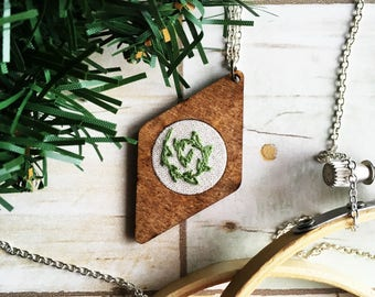 Leafy Spiral - Hand Embroidered Wood Necklace