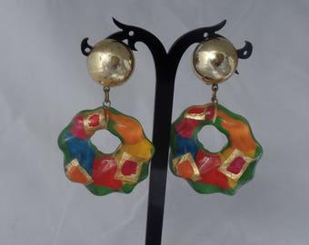 Vintage 1980'S Multicolor Acrylic Hoops