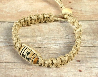 Surfer Phatty Thick Hemp Bracelet Or Anklet With Horn Bead