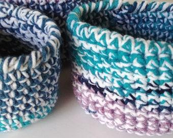 Crochet nesting bowl sets/Mini Nesting Bowls/Crochet Bowls/Storage Bowls/Farmhouse Decor/Storage Organization/Crochet Basket/Storage Basket