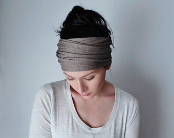 ASH BROWN Head Scarf, Yoga Head Wrap, Extra Wide Headbands for Women, Boho Head Wrap, Boho Headband, Yoga Headband, Yoga Head Scarf