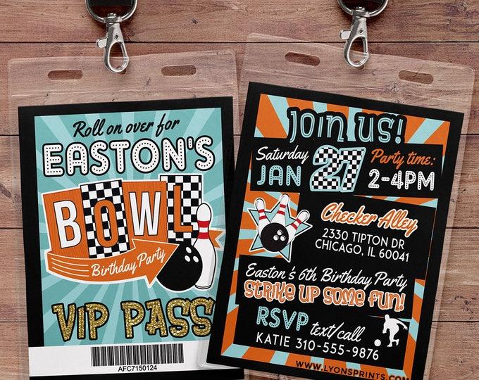 Bowling Invitation - Bowling Birthday Party Invite - Boy Bowling, girl bowling, VIP pass, retro bowling, bowling, Strike