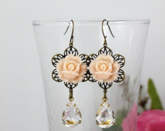 Petite Peach Roses with glass jewel Earrings. Gift for her. Anniversary, Birthday, Christmas, Bridesmaid, Maid of Honor. Wedding