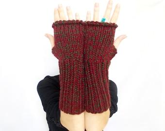 Long Fingerless Gloves, Burgundy green, Mittens, Hand knit fingerless gloves, Gift ideas for her, Boho knit glove, Knit gloves
