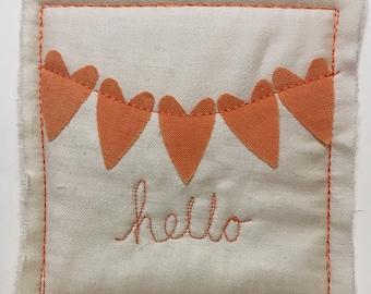 Hello Greetings Card orange heart bunting
