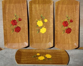 Hasko Trays 4 Red Yellow Rose Vintage Wood Snack Set Lithographed Paper