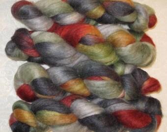 Handpainted Rovings -- BFL Wool and Silk