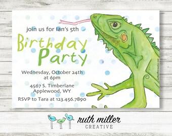 Iguana Birthday Party Invitation, Printable, Digital File