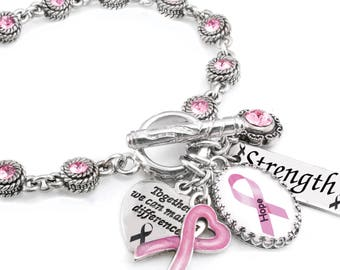 Personalized Awareness Charm Bracelet, Cancer Jewelry, Customized Awareness Jewelry, Your choice of Ribbon Color