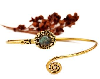 Brass Bracelet, Gold Bangle, Boho Bracelet, Labradorite Bracelet, Brass Cuff Bracelet, Bangle Bracelet, Gemstone Bracelet, Bohemian Jewelry
