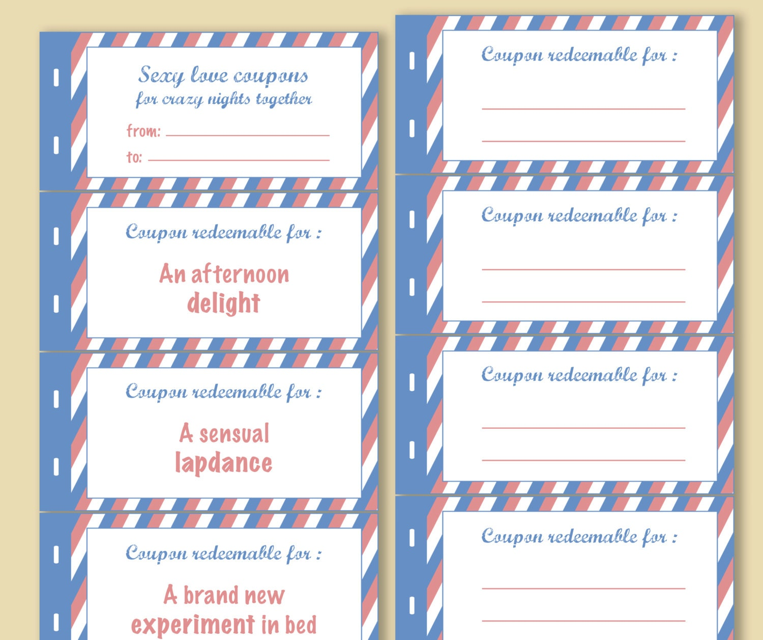 Instant download printable sexy love coupons book blank love