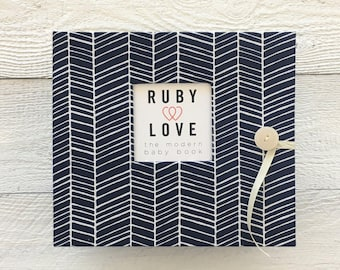 BABY BOOK | Navy Herringbone Stripe Album