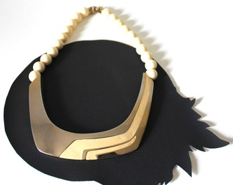 Chrome and Cream Race Stripe Necklace