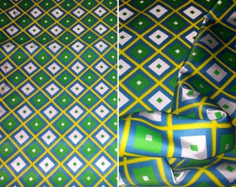 Vintage 1960s 60s 1970s 70s Dress Blouse Fabric BTY By The Yard Yardage Retro Geometric Blue Green Yellow White Diamonds MOD