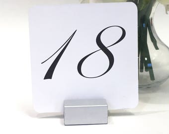Table Numbers with Silver stands + Wedding Table Number Cards with Silver Stands