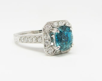 14K White Gold Blue Zircon & Diamond Ring