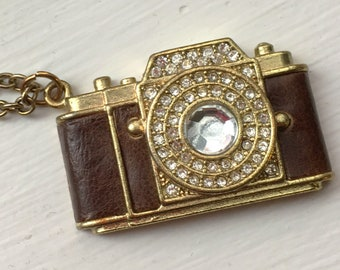 Gold Tone Camera Necklace with leather and rhinestones