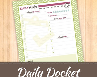 Daily To Do List Docket, Instant Download