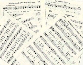 """Vintage Spanish Hymnal pages, 60 pgs. """"Himnos De La Iglesia De Jesucristo De Los Santos De Los Ultimos Dias"""", hymnal pages, Spanish hymns"""