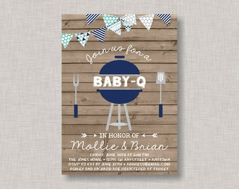 BBQ Baby Shower Invitation, Baby Q Invitation, Coed Baby Shower, Couples Baby Shower, Boy Baby Shower
