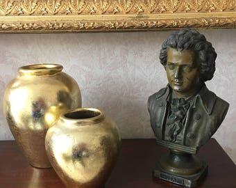 Vintage Gold Vases Set of Two