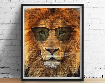 Cool LION Sunglasses Poster, Leo Lion With Glasses Dictionary Art Print, Safari Zoo Nursery Animal Portrait, Dorm Decor, Modern Wall Art