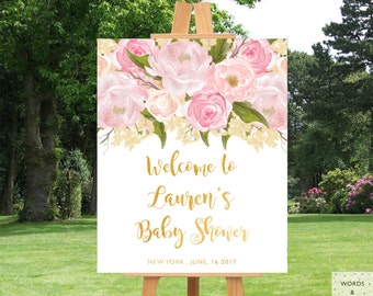 Baby Shower Decorations Girl, Baby Shower Decor, Baby Shower Banner, Pink And Gold, Girl Baby Shower Decoration, Baby Shower Sign, Custom