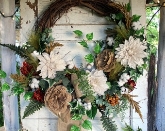 Burlap wreath, large wreath with burlap flowers, cotton, greenery, rustic wreath, farmhouse style, neutral colors, white, tan, country