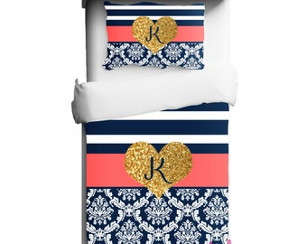 College Bedding - Dorm Duvet - Navy and Coral Stripe and Damask with Gold Glitter Heart Duvet or Comforter - Any Color Available