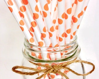 25 Peach Polka Dot paper straws // baby bridal shower decorations / candy dessert buffet table // wedding // First birthday/new year party