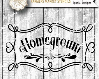 SALE.50%.OFF HomeGrown Cutting design Country Vintage Vinyl Stencil Frame with Flourish SVG Cut File Cricut design Space, Silhouette Studio