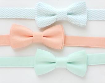 Boys bow tie, mint bow tie for kids, peach bow tie, wedding bow tie for ringbearers, groomsmen ties, boys photo prop, childrens bow tie